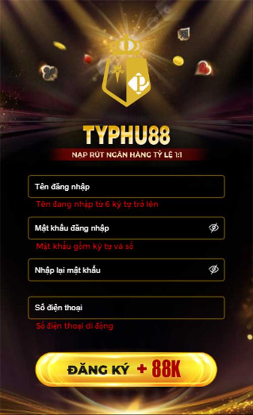 giao diện đăng ký typhu88 - tp88