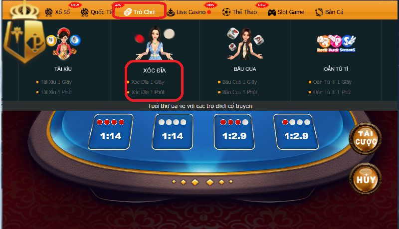 Giao diện game xóc đĩa đổi thưởng online typhu88